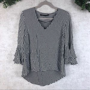 Zara Woman Houndstooth Layered Bell Sleeve Blouse